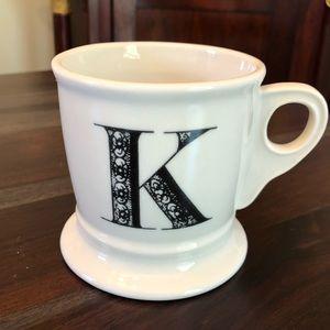Anthropologie Initial Coffee mug K New